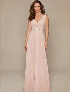 A-Line V-Neck Sweep Train Chiffon Mother of the Groom Dress With Applique