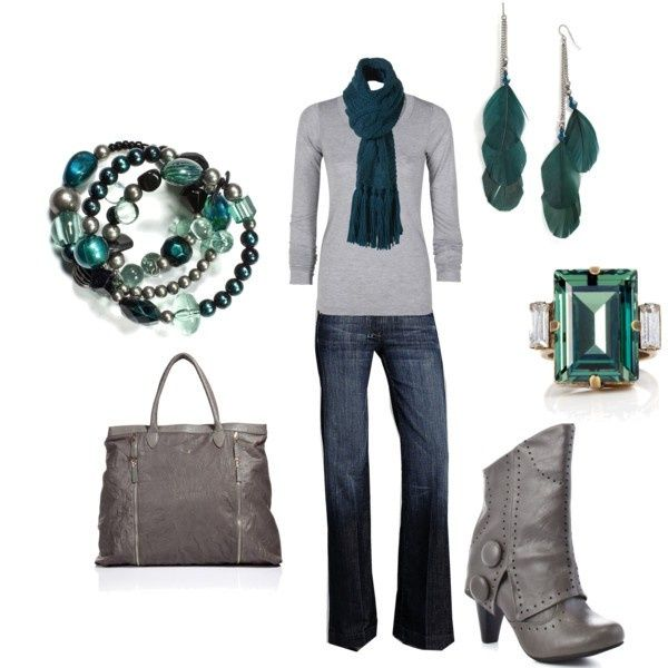 outfits by @veolacsnfg: Shoes, Teal And Grey, Green And Gray, Color Combos, Clothing, Winter Outfit, Fall Outfit, Accessories, Boots