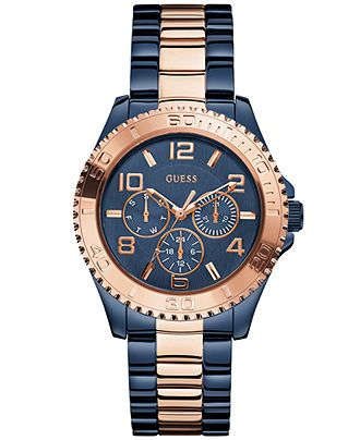 GUESS Watch, Women's Rose Gold-Tone and Blue Bracelet 40mm U0231L6 - Watches - Jewelry & Watches - Macy's