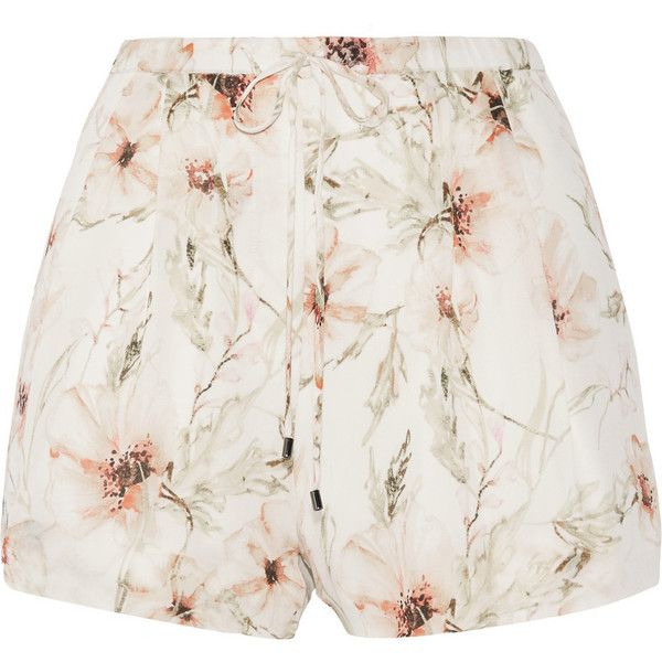 Haute Hippie Floral-print silk-organza shorts found on Polyvore featuring shorts, bottoms, short, ivory, floral printed shorts, loose short shorts, short shorts, mid rise shorts and elastic shorts