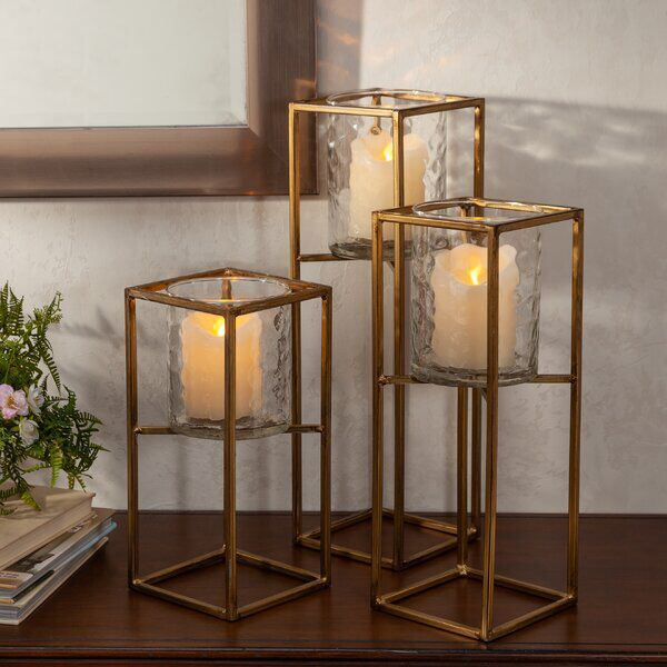3 Piece Tall Metal And Glass Lantern Set In 2020 Glass Lantern Floor Lanterns Lantern Set