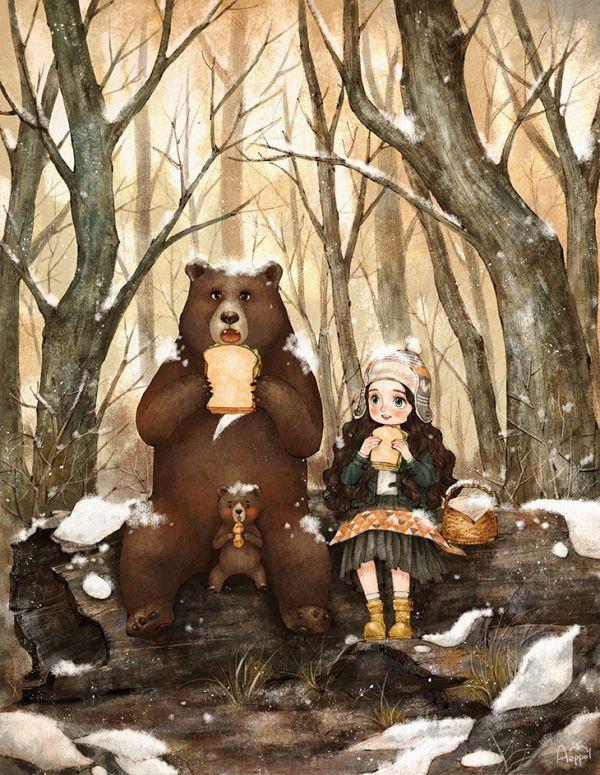 곰 가족은 생각보다 무척 친절하고 상냥했어요. 우리는 다같이 나무 기둥에 앉아 샌드위치 도시락을 나누어 먹었답니다. The bear family was unexpectedly nice and polite. We all sat on a log and ate sandwiches.