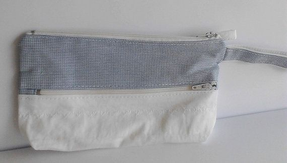 zippered purse sky blue and white shepherd's by creatingbyVilly