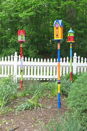 Mike Made These Three Bird Houses And He The Poles Also Outdoor Diy Pinterest Birds Feeders