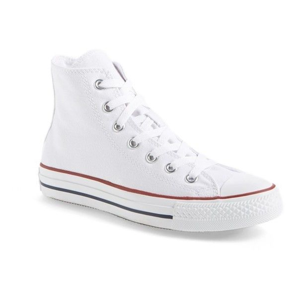 Women's Converse Chuck Taylor High Top Sneaker ($55) ❤ liked on Polyvore featuring shoes, sneakers, optic white, converse sneakers, high-top sneakers, converse trainers, laced up shoes and white high tops