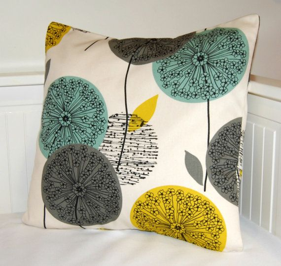 mustard teal grey pillow cover, dandelion flower cushion cover 18 inch - made to order. £15.90, via Etsy.
