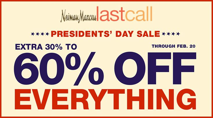 Online Only! 30% #Off Everything + Up To 60% #Off Cold Weather.  Store : #NeimanMarcusLastCall Scope: Entire Store Ends On : 02/20/2017  Get more deals: http://www.geoqpons.com/Neiman-Marcus-Last-Call-coupon-codes  Get our Android mobile App: https://play.google.com/store/apps/details?id=com.mm.views    Get our iOS mobile App: https://itunes.apple.com/us/app/geoqpons-local-coupons-discounts/id397729759?mt=8