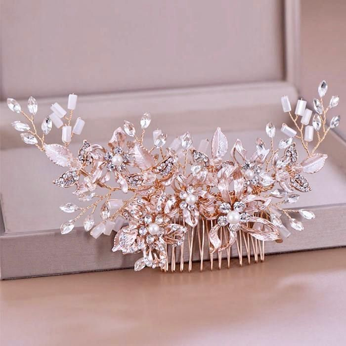 Andra Rose Gold Pearl Bridal Hair Comb Hair Accessories Roses Wedding Hair Head Piece Bridal Hair Combs Pearl