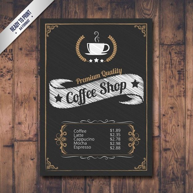 Menu de café no estilo negro