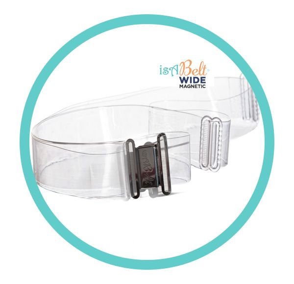 isABeltWIDE ® - A Magnetic Clear Belt (UNISEX) with no bulk sculpted, super tough magnetic clasps. 1 inch wide & designed to snap on and stay on!