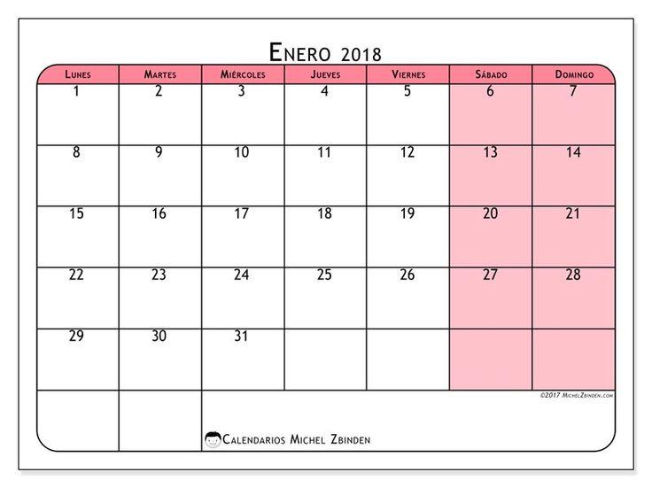 Gratis! Calendarios para enero 2018 para imprimir