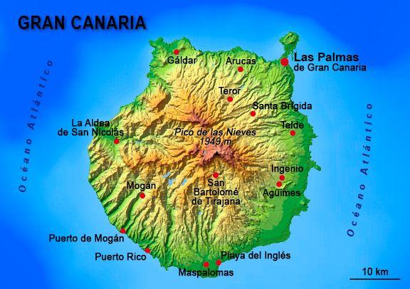 La Gran Canaria es la isla más poblada de la provincia de Las Palmas. Las Palmas de Gran Canaria es la capital de la isla y sede de la Delegación del Gobierno y del Cabildo de Gran Canaria. La isla tiene una forma circular y es muy montañosa.