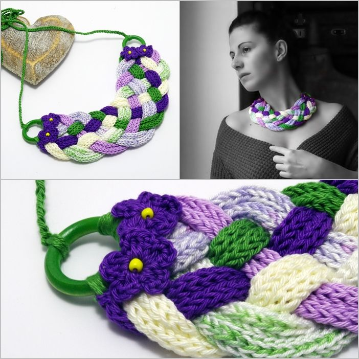 #knitted #braided #necklace with #flowers in #green #white and #purple colors