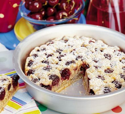 Fresh cherry cake with a hint of cinnamon  Really easy, really quick and really delicious~ Tip for pitting cherries, stick a straw or chopstick through the middle of a cherry to get the pit out!