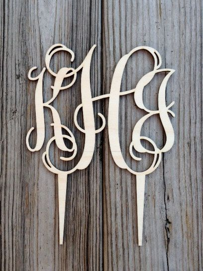 Gorgeous Wood-Cut Lace Monogram Cake Topper