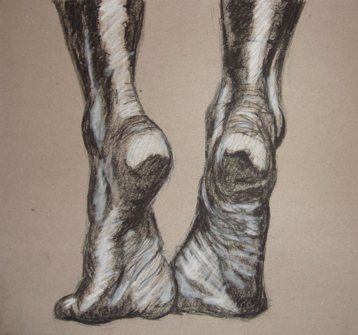 Feet Charcoal Drawing on Cardboard by Metal Hand by BrokeDrawers, $60.00