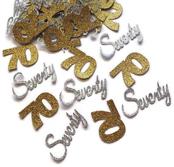 70th birthday decorations, 70 confetti, seventieth anniversary, seventy years, silver, gold, glitter, table decor, 50CT