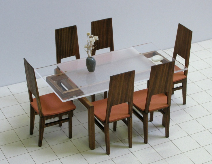 DINING TABLE And 6 CHAIRS Set 112 Scale Dollhouse Miniature Modern