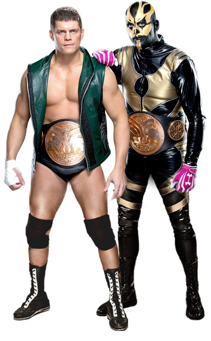 The Rhodes Brothers(Left to Right): Cody Rhodes & Goldust. Former WWE Tag Team Champions. Both are former Intercontinental Champions and have won the WWE Tag Team & World Tag Team Championships with other partners.