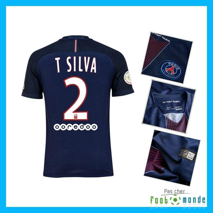 Nouveau Maillot de Foot Paris PSG T SILVA 2 Domicile Bleu 2016 2017 Officiel