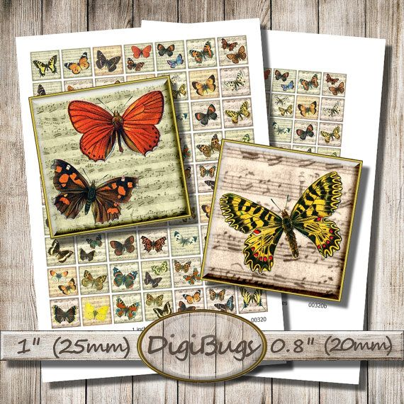 Butterflies on Music Paper, Digital Collage Sheet, 1 inch, 0.8 inch Squares, Printable Butterfly Inchies, Music Sheet, Instant Download, a5