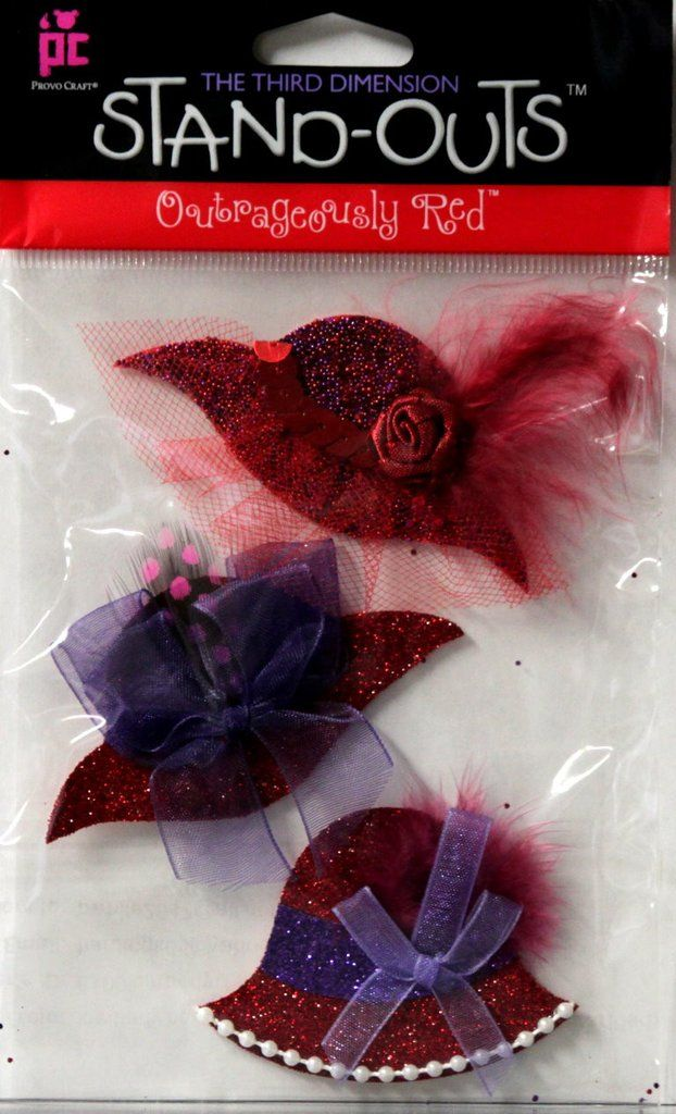 Provo Craft Stand-Outs Red Hat Society Outrageously Red Premium Dimensional Scrapbook Stickers - SCRAPBOOKFARE