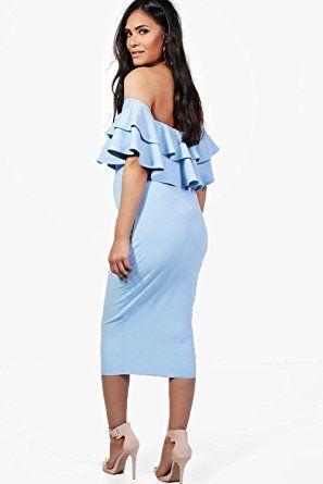 4ac7fefa0eb13 Boohoo Womens Maternity Lauren Ruffle Off The Shoulder Midi Dress at Amazon  Women's Clothing store: