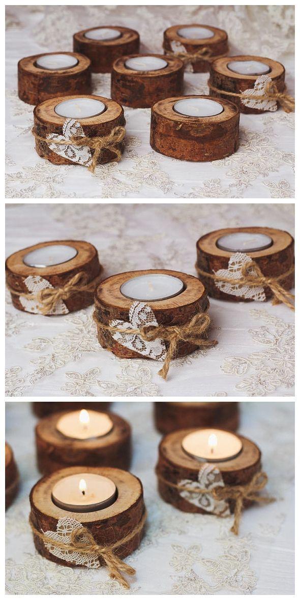 50 set Rustic candle holders Valentine table decor Wood tealight holders Woodlan…
