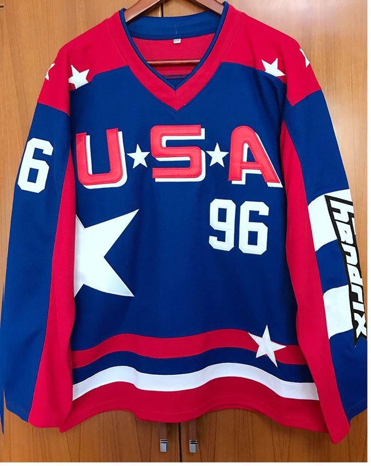Mighty+Ducks+Team+USA+Olympic+Ice+Hockey+Charlie+Conway+96+Jersey+Blue+Red+White
