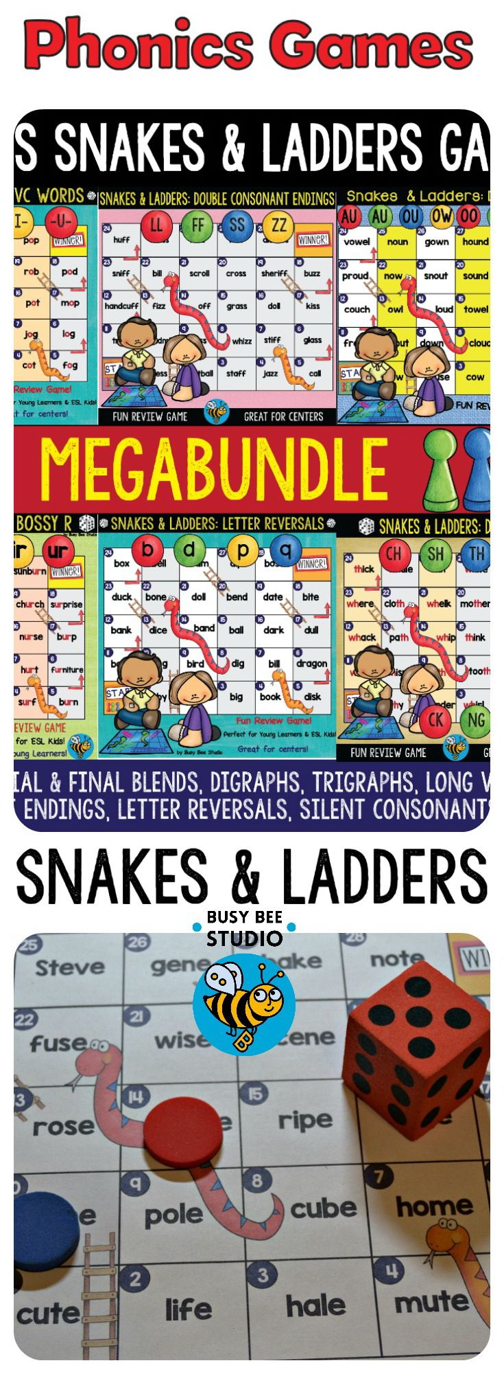 Educational Snakes and Ladders Game is a great review activity. Just print and play! The games are great for reinforcing and reviewing phonics skills.These game are perfect for your phonics centers and phonics word work activities. Phonics Snakes and Ladders Games Mega bundle includes the following games:CVC, CVCE, BLENDS, Digraphs, Trigraphs, Silent Consonants, Long Vowel Teams #tpt, #phonics, #readinggames, #ESL, #ELL, #ELA