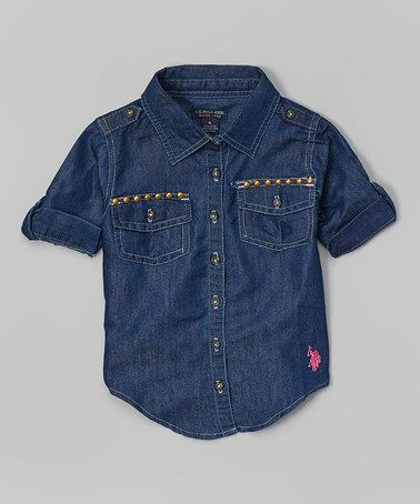 Look what I found on #zulily! Denim Roll-Tab Button-Up - Toddler & Girls by U.S. Polo Assn. #zulilyfinds