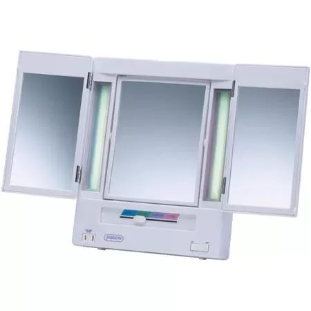 Jerdon Tabletop Tri-Fold 2-Sided Lighted Makeup Mirror with 5x Magnification and 4-Light Settings, White