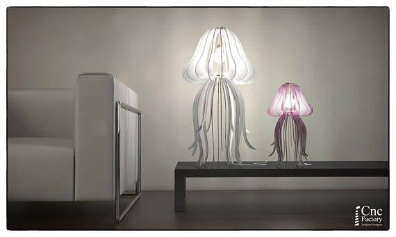 Lampe Quallen Pelagia schneiden Holz Lampe, Anhänger