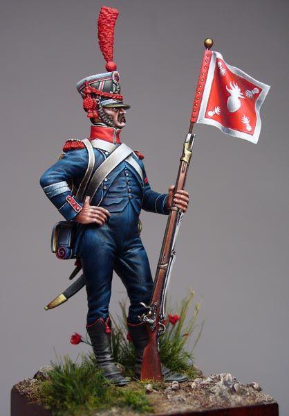 Sergent de carabiniers d'infanterie légère porte-fanion.