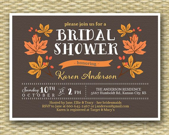 Fall Bridal Shower Invitation Rustic Fall by SunshinePrintables