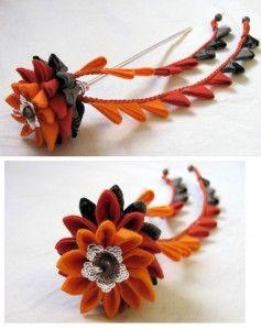 orange and grey Tsumami flower-Yinco