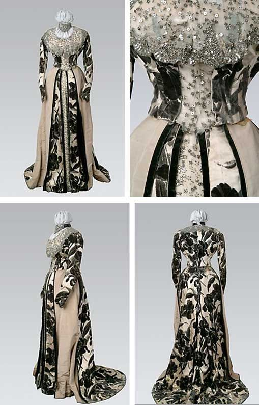 Evening gown, Worth, 1890s. Sleeves, bodice, skirt back, & front underskirt all of iris-pattern velvet; side front overskirt panels are ivory-ribbed silk w/bands of charcoal velvet. Bodice w/peplum at back, skirt w/train. Bertha collar of silk net/tulle decorated w/spangles/sequins & cut steel beads in heavy fan-shaped patterns at edges. Bodice & skirt inserts of same beaded/sequined net. Long trained skirt flares at hem, smooth at hips. Sleeves w/slight fullness at cap. Drexel Univ.
