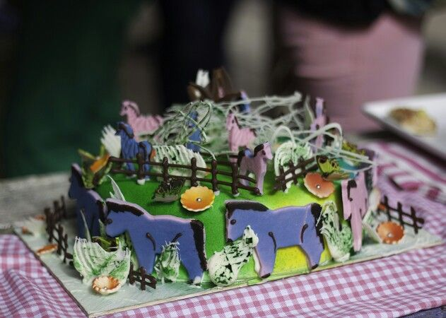 The cake - Made by Te Papa - very bright!