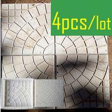 4 Stuks/partij Walk Path Baksteen Cement Maker Beton Plastic Mold DIY Tuin Lopen Weg Bricks Decoratie Ronde Patroon(China (Mainland))