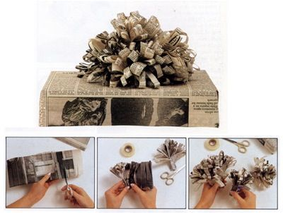 Gift wrapping present idea fun easy unique newspaper bow tutorial step by step beautiful craft diy christmas holiday recycle kids wedding fa...