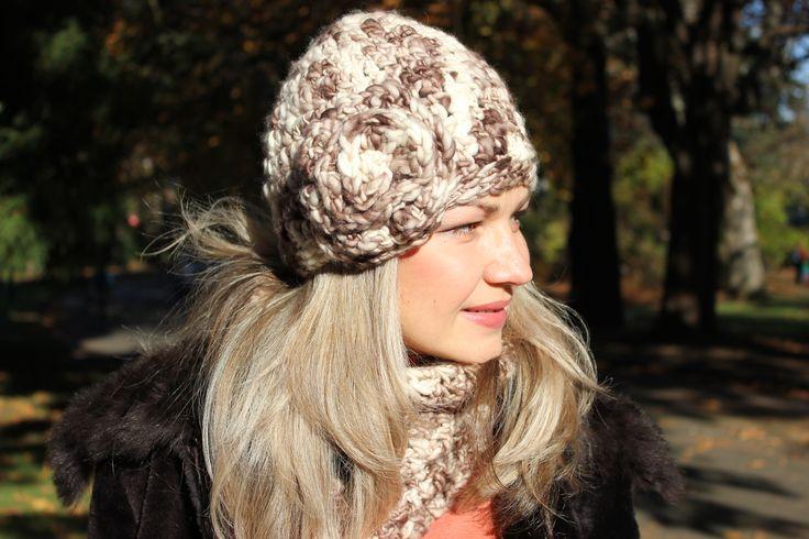 Soft and cozy merino wool hat with flower. www.facebook.com/KnitEleganza