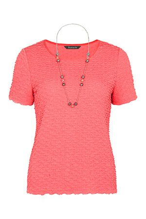 Textured Frill Top & Necklace