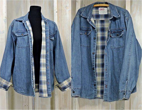 Vintage 90s Levis Denim Jacket Mens M Womens L Flannel Lined Denim Jacket Oversized Grunge Levis Denim Jacket Men Vintage Denim Jacket Denim Jacket