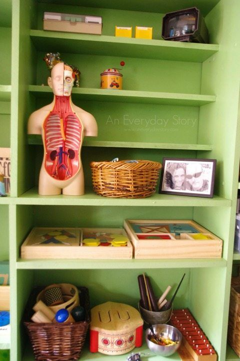 Materials in a small playroom from An Everyday Story