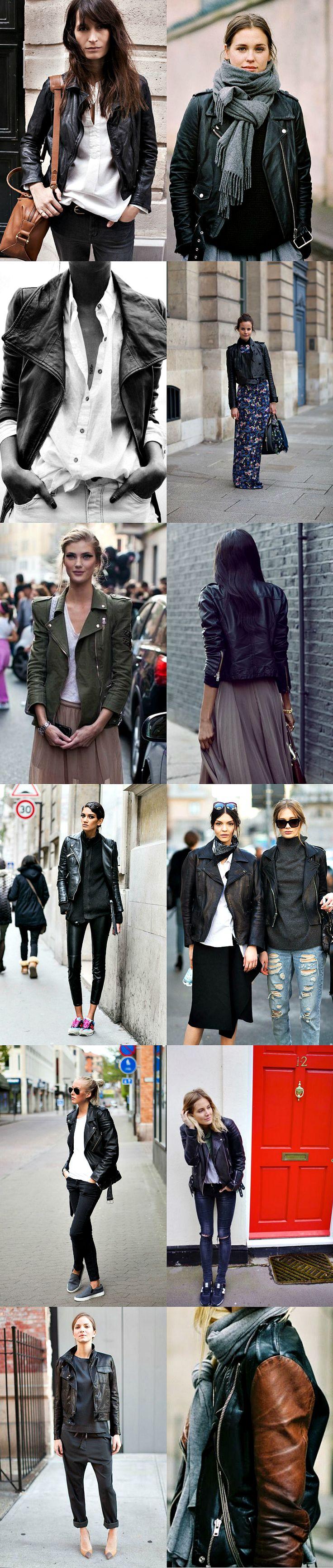 moto jacket street style..... la chaqueta de cuero Must Hace!?