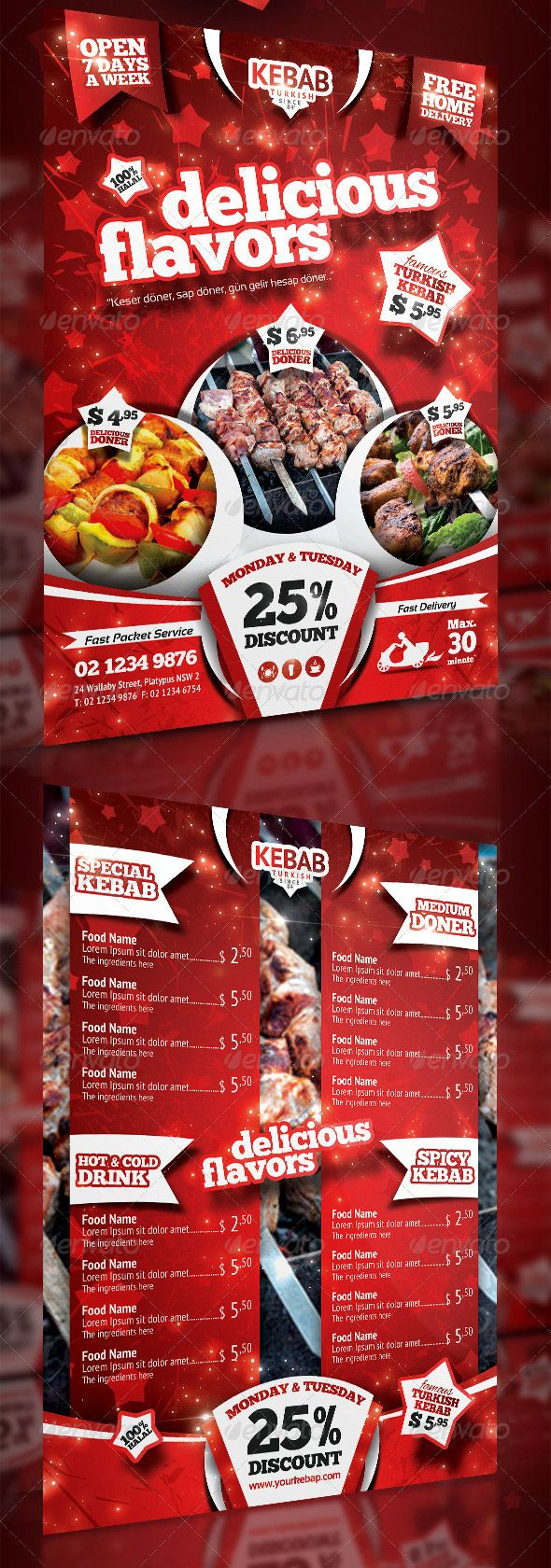 Kebab Menu Flyer - PSD Template