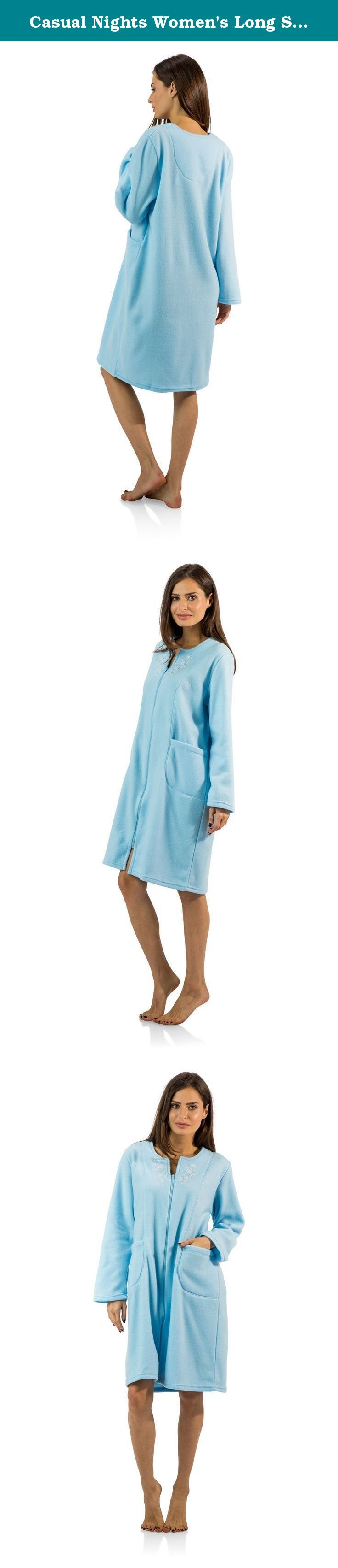 "Casual Nights Women's Long Sleeve Zip Up Front Short Fleece Robe - Blue - X-Large. This cozy warm Zipper Front Fleece Robe from Casual Nights, Exceptionally lightweight bathrobe made from poly fleece smooth to the touch fabric. Housecoat features; Long sleeves, stitching detail, flower embroidery appliques, front zip closure measures 28"" inches makes the shower robe easy to wear. Measures approx. 39"" from shoulder to hem. Perfect for spas, shower houses, dorms, pools, gyms, bathrooms..."