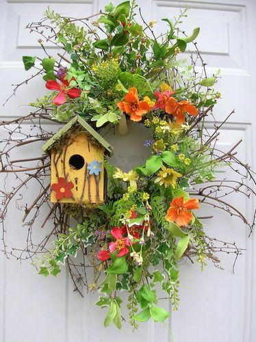 Spring Summer Wilflowers Birdhouse Floral Door Wreath Arrangements | eBay