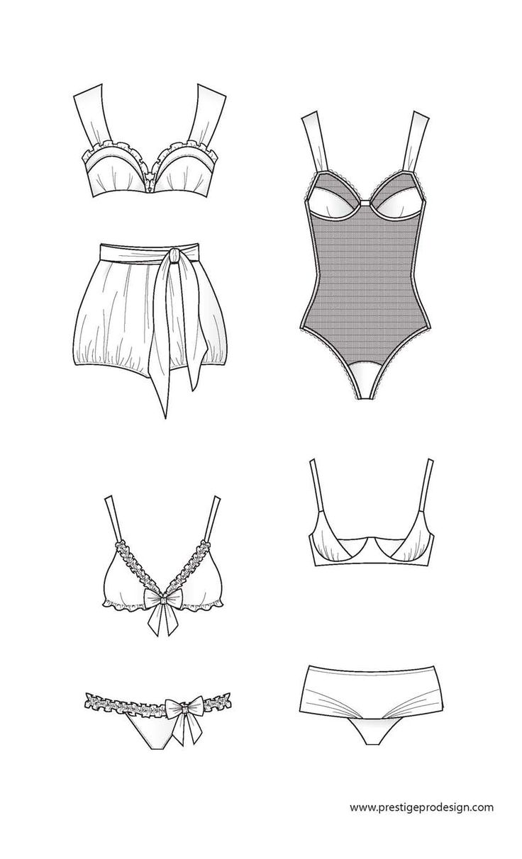 Prestigeprodesign · Technical Drawingfashion Flatsunderwear Swimwearsketchesfigurines