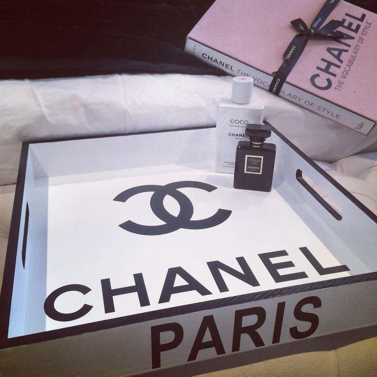 Chanel vanity tray... #chanel #black #white #fashion #style #trend #home #decor #designer #design #love #shop #heaven #room www.charliemac.com.au